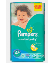 PAMPERS ACTIVE BABY-DRY MAXI 4+ 9-20KG A62